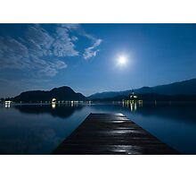 Supermoon over bled Island Church Photographic Print