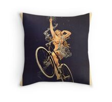 Vintage Bicycle Poster Parody - Menstrual Cycles Throw Pillow