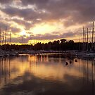 Sunset at harbor by Arve Bettum