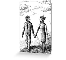 Damaged Androids in Love Greeting Card