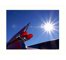 Red Cadillac Fin and Solar Flare Art Print