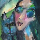 Girl and Cat Love by Joanie Springer