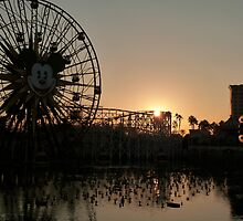 Rollercoaster at dusk with reflection by FangFeatures