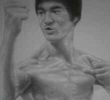 "Bruce Lee pencil drawing with ""TO HELL WITH CIRCUMSTANCES: I CREATE OPPORTUNITIES."" caption by Steven Strong"