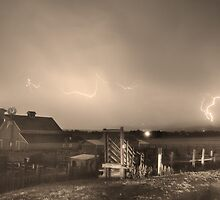 McIntosh Farm Lightning Thunderstorm View Sepia by Bo Insogna