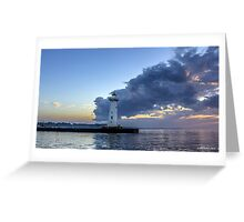 Sunset Clouds Greet The Lighthouse Greeting Card