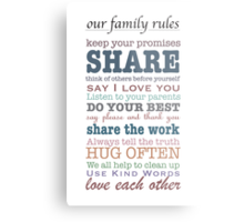 Our Family Rules (colour) Metal Print