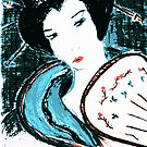Geisha Asami (麻美) experimental processed pastel drawing by patjila