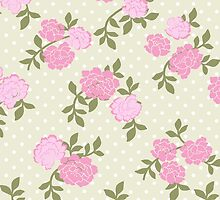 Shabby Chic Polka Dots, Roses - Beige Pink Green  by sitnica