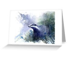 Water colour Badger Greeting Card