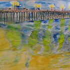 AnOther OReilly ORiginal  Painting reflections of 50 shades of ventura oils pier at sunset in water color by Timothy C O'Reilly