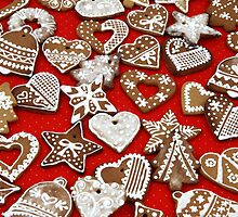 Christmas Gingerbread Cookies Stars Hearts by sitnica