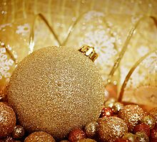 Christmas Shiny Sparkly Glittery Ornaments Gold by sitnica