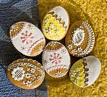 Easter Eggs Gingerbread Cookies Yellow Pink White by sitnica