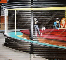 NIGHTHAWKS on shutter by StreetArtCinema