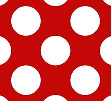 Artistic Abstract Retro Polka Dots Red White by sitnica