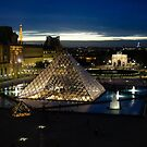 Paris - Louvre Pyramid at Night by Georgia Mizuleva