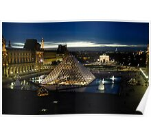 Paris - Louvre Pyramid at Night Poster