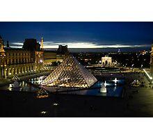 Paris - Louvre Pyramid at Night Photographic Print