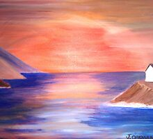 Sunset Over The Bay - Acrylic Painting by Janette Oakman