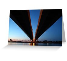 Cable-stayed bridge at night Greeting Card