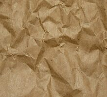 Wrinkled Crumpled Paper Texture - Brown  by sitnica