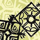 African Tribal Ornaments Green, Yellow, Black by sitnica