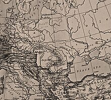 Old Map Atlas Borders Europe Brown Black by sitnica