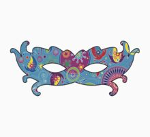 Mardi Gras Carnival Mask Blue Pink Red Yellow by sitnica