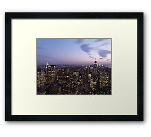 NYC Empire State and Chrysler Building Twilight  Framed Print