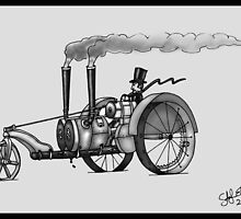 1916 HAPPY FARMER STEAMPUNK TRACTOR (Black and White) by squigglemonkey