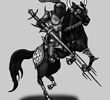 KNIGHT ON HORSE (BLACK AND WHITE) by squigglemonkey