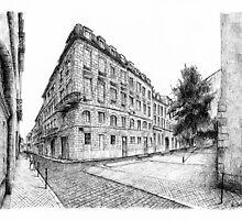 Building in Bordeaux - Black ink drawing by nicolasjolly