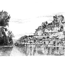 Beynac - Black ink drawing by nicolasjolly