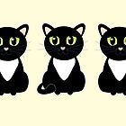 Three Black and White Cats by Jean Gregory  Evans