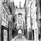 Rue Saint-James - Bordeaux - Black ink drawing by nicolasjolly