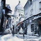 Montmartre sous la neige - Watercolor by nicolasjolly