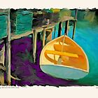 Sunlit Dinghy, Back Cove, New Harbor, Maine by Dave  Higgins