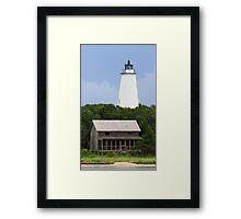 Ocracoke Light and Beach House Framed Print