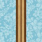 Sunset Beach Hawaiian Faux Koa Wood Surfboard - Aqua by DriveIndustries