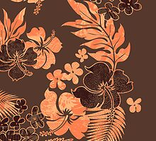 Kona Times Hibiscus Hawaiian Print - Papaya on Cocoa by DriveIndustries