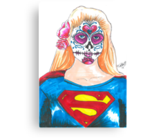 Supergirl Sugar Skull Canvas Print