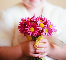 little child girl with flowers asters in their hands by GrishkaBruev