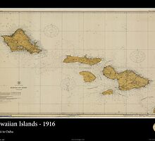 Vintage Nautical Print of the Hawaiian Islands - 1916 by aocimages
