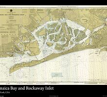 Vintage Print of Jamaica Bay and Rockaway Inlet  by aocimages
