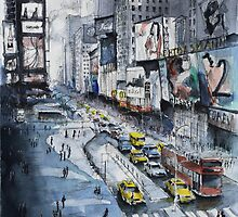 Time Square - Watercolor by nicolasjolly