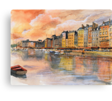 Sunset over Honfleur - Watercolor Canvas Print