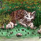 Cat in flower garden by GittaG74