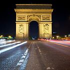 Arc de Triomphe at Night by CJ B
