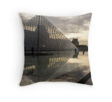 Paris - Louvre Pyramid Reflecting in the Fountain's Pool Throw Pillow